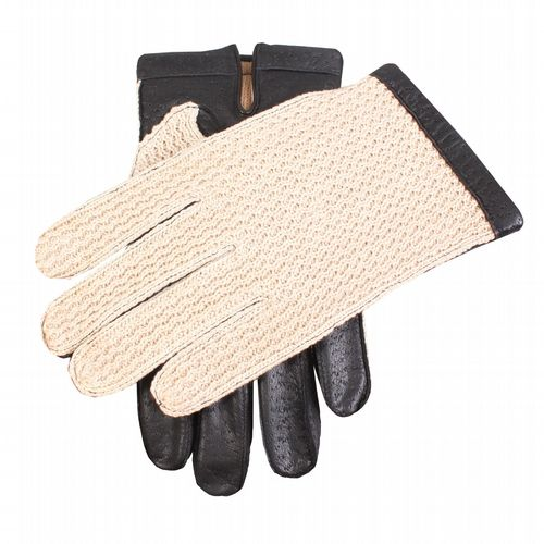 Dents - Leather and Crocheted Cotton Driving Gloves